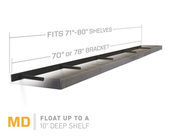 "Floating Shelf Bracket for 72"" to 84"" Long Floating Shelf - MEDIUM DUTY - Hardware Only (US Patent 9,861,198)"