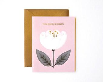 White Poppy Sympathy Card