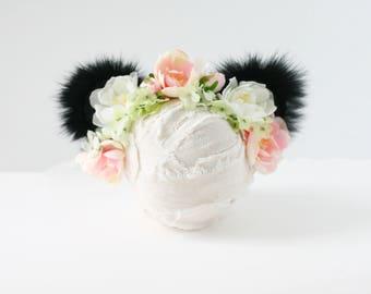 panda blush green white and ivory silk flower bear ears halo newborn prop headband