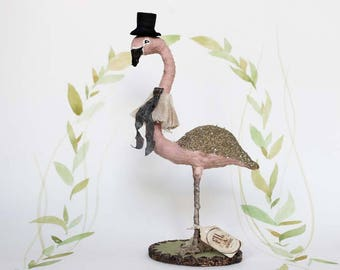 Cake topper Flamingo glitter antique inspired spun cotton center piece decoration