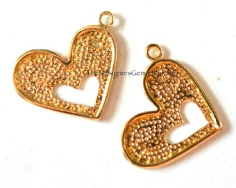 One Detailed Gold Vermeil 18kt Heart Charm 19 x 14mm