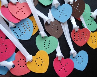 Love You & XO Kisses - 12 Large Rainbow Candy Heart Confetti Tags - DDOTS -  Valentine's or WeddingDay