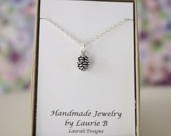 Tiny Pinecone Charm Necklace, Friendship Gift, Sterling Silver, Bestie Gift, Tiny Pinecone Charm, Thank you card, Nature, Tree Charm