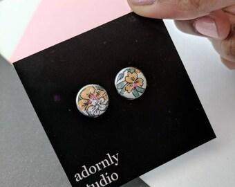 OOAK fabric flower earrings