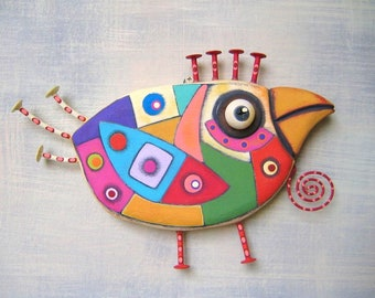 Art Chicken 3, Original Found Object Wall Sculpture, Chicken Wall Art, Wood Carving, Abstract Art, by Fig Jam Studio
