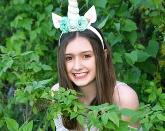 Turquoise Flower Unicorn Horn, unicorn costume,  adult unicorn headband, costume, unicorn horn costume, senior photoshoot,fairytale pictures