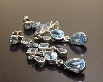 Sterling Silver Art Deco Blue Topaz Earrings - Silver Blue Topaz Drop Earrings - Blue Topaz Silver Dangling Earrings - Art Deco Earrings