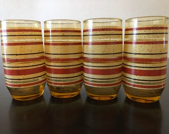 Vintage Yellow Red and Brown Striped Drinking Glasses/ 1970s Striped and Speckled Amber Glass Tumblers/ Groovy Yellow Glasses