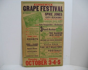1946 Festival Poster, Spike Jones & City Slickers and Tex Rankin Aviation Air Show + Jack Teagarden, Grape Festival Concert Airplane Poster