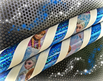Elsa Frozen Dance & Exercise Hula Hoop COLLAPSIBLE or Push Button - blue white sparkle children or adults