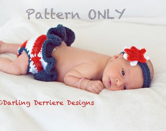 Instant Download PDF American Flag July 4th Baby Diaper Cover Tutu and Star Headband PATTERN ONLY
