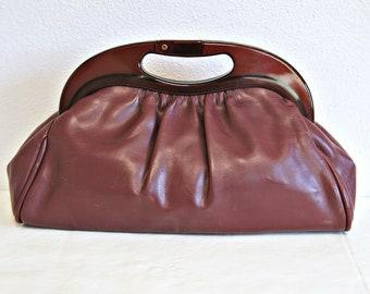 Vintage Clutch Bag Maroon Leather Lucite Handle 1960's Preppy British Hong Kong Mr. Ralph