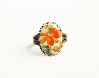 Orange Flower Ring Vintage Floral Cameo Adjustable Raw Brass Tangerine Victorian Jewelry Colorful Summer Accessories