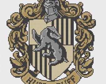Hufflepuff Crest Cross Stitch Pattern