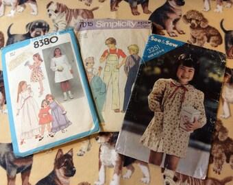 Vintage patterns set of 3 childrens