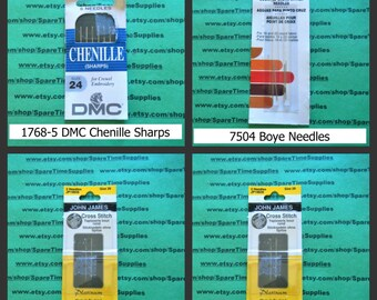 Chenille Sharps Needles - Counted Cross Stitch Needles - assorted sizes - 1 pkg