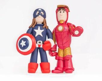 Handmade Personalised Superhero Clay Wedding Cake Topper Lego DC Marvel Comic Disney