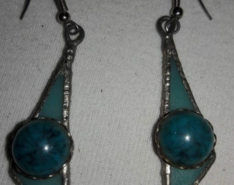 Turquoise Blue Stain Art Glass and Cabochon Vintage Pierced Earrings