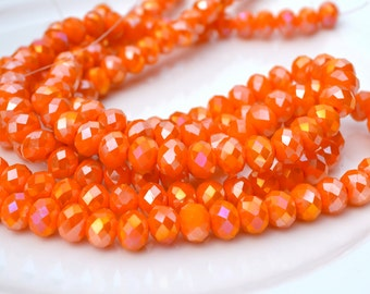 Orange Luster 8x6mm Crystal Rondelle Beads  15