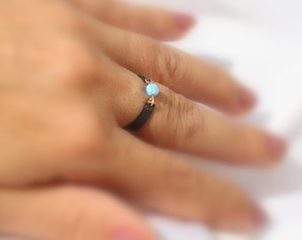 Opal ring - Leather and White opal ring - Opal band ring - Dainty opal ring - Blue opal Leather ring