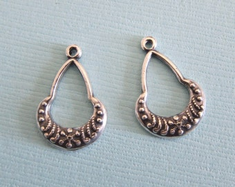 2 Silver Drop Charms 2878