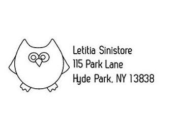whimsical owl return address custom Rubber Stamp