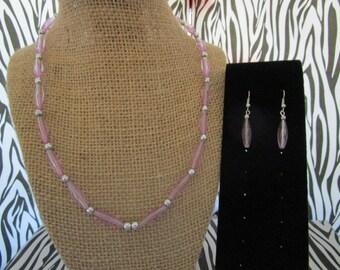 Purple Clear Beaded Necklace & Earrings Set