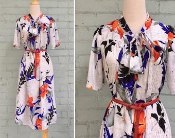 1970s floral dress / 70s tent dress / 1970s midi dress  / 70s summer dress