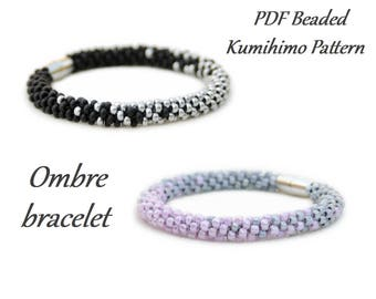 PDF Beaded Kumihimo Pattern - Ombre Kumihimo bracelet – bead layout instruction tutorial