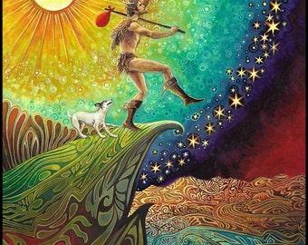 The Fool Tarot Art Original Acrylic Painting Psychedelic Pagan Mythology Goddess Art