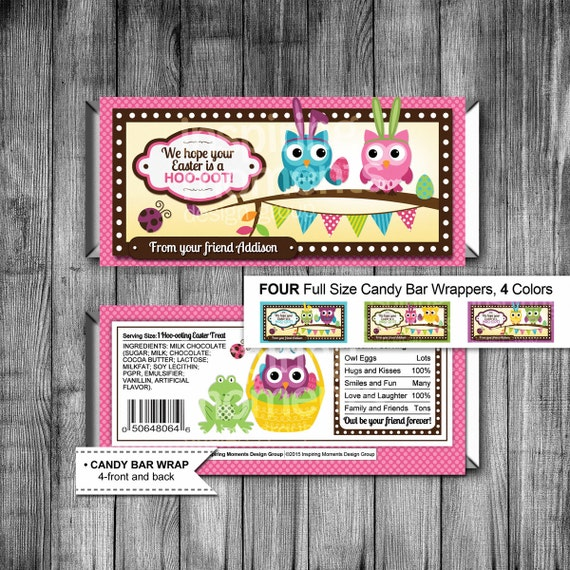 Easter Owl Candy Bar Wrappers Printable Hershey Bar