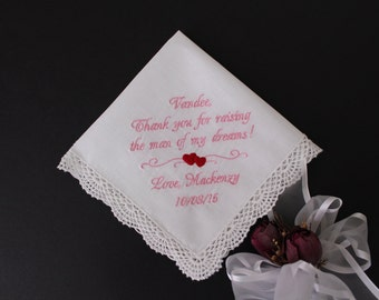Mother of the Groom handkerchief, Wedding gift from bride to Mother of the Groom, Ivory hankie, custom hankie, heart motif, LS0F38