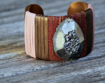 Modern Stones • Pyrite Chunk Drusy leather wrapped cuff bracelet - bronze pink red - Druzy - textured chunky cuff 1.5 inch wide