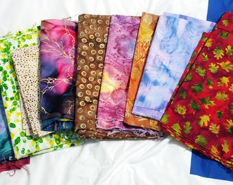 Fabric By The Pound, Batik Fabrics, Fabric Grab Bag, 1 Pound, Approx 3 yards, All Sizes & Colors