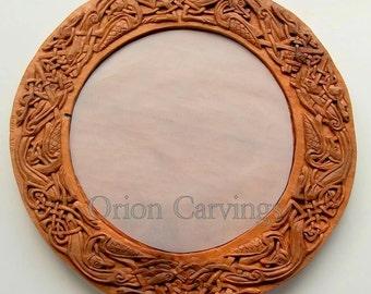 Celtic pájaros espejo talla de madera, hecho a mano tallado en madera, 15, 7 en diám.