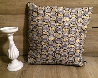 Patterned pillow cover ethnic yellow grey and black