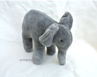Elephant, stuffed elephant toy made of knitted cotton, stuffed with merino wool