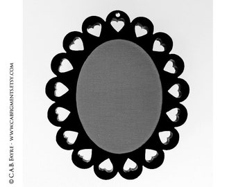 2pcs Sweetheart Cameo Setting - for 40x30mm Cameo - Laser Cut - (You Select the COLOR and if you want them with Holes or No Holes)