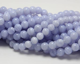 Wholesale Blue Lace Agate 8, 10, 12, 14 mm. Smooth Round Strip Blue Stone, Natural Stone and Color, Beads for Handmade Jewelry, High Quality