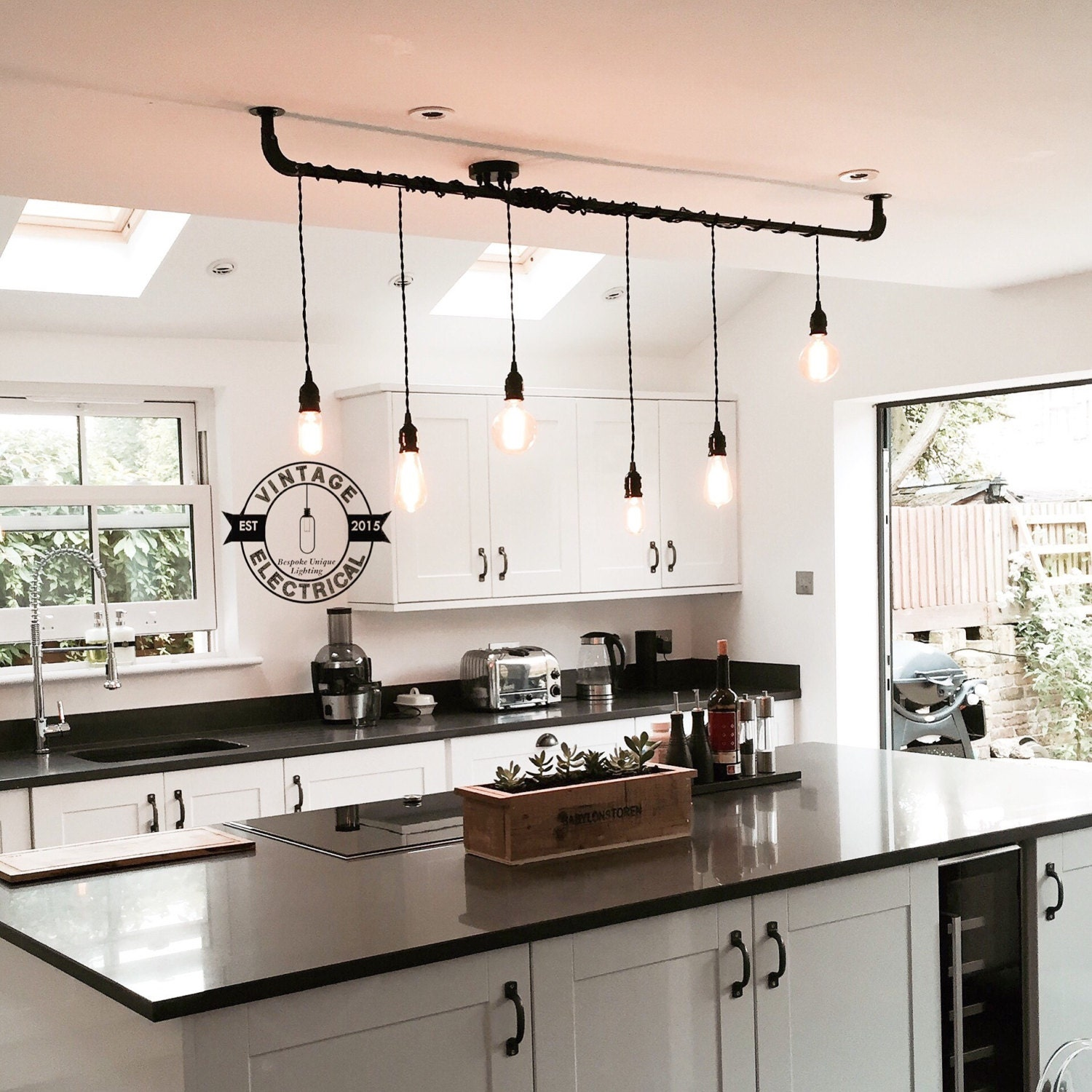The Burnham 6 X Pendant Drop Light Hanging Lights Ceiling Dining Room Retro Kitchen Table E27 Vintage Edison Screw Filament