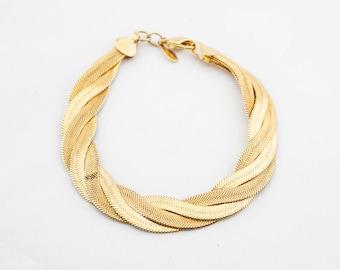 Vintage NAPIER Signed Gold Tone Multi Snake Chain Bracelet