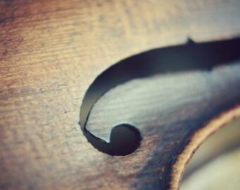 "Violin photograph - brown wood fiddle - abstract music print - musical instrument print - musician gift - music room art   ""Joyful Sounds"""