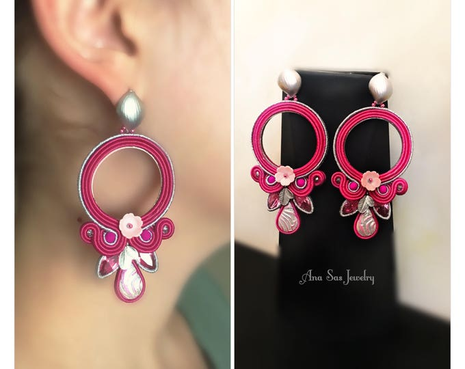 Fuchsia soutache earrings with glittery hanmade cabochon