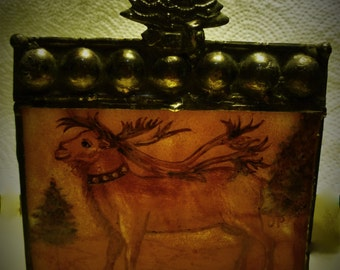 Victorian Christmas Reindeer Luminaire / Candle Holder - Hand Painted, Kiln Fired