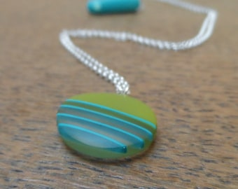 small resin pendant - mini green pendant with stripes