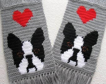 Boston Terrier Scarf. Gray crochet scarf with red hearts and Boston dogs. Knitted dog scarf. Boston terrier dog gift