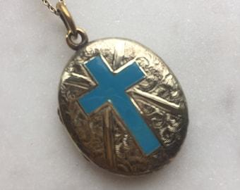 Victorian Gold Enamelled Blue Cross Locket Pendant Necklace