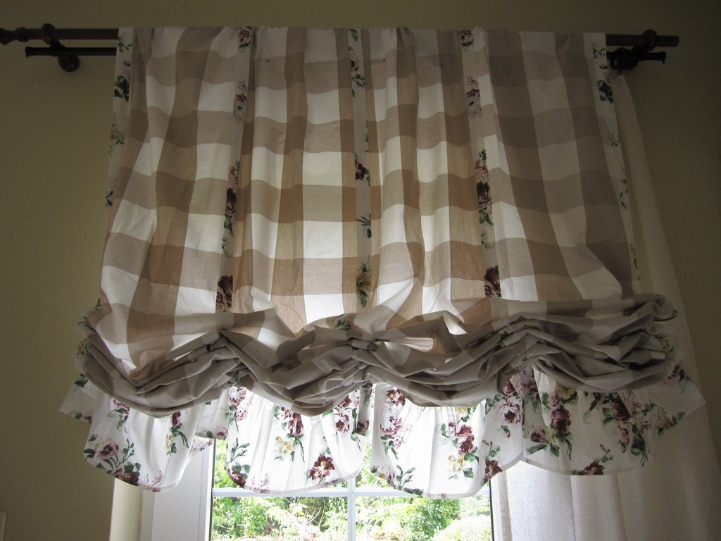 Valance plaid floral ruffle kitchen curtain balloon valance for Rideaux style shabby