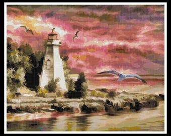 Lighthouse Cross Stitch Pattern - Nautical Cross Stitch - PDF Download