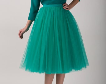 Emerald tulle skirt, Handmade long skirt, Handmade tutu skirt, High quality skirt, Tea length petticoat, Tea length skirt